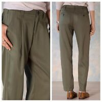 Sundance Size 8 Westport Tencel Pleated High Rise Slouchy Pants In Loden Green