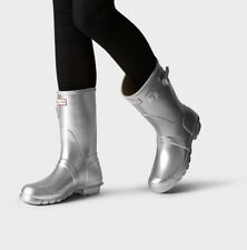Hunter Women's Original Short Metallic Silver Rain Boots Size 6 Retail $135+