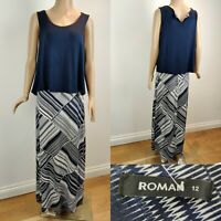 Women's ROMAN ORIGINALS Long Maxi Dress Size 12 Blue 2-in-1 Sleveless