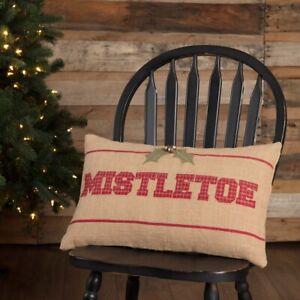 "VHC Brands Rustic 14""x22"" Mistletoe Pillow Tan Christmas Appliqued Holiday Decor"