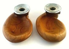 2 whistle rack candle holder candlestick Teak wood Metall mid century signed
