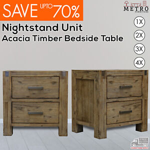 New Luxury Acacia Timber Premium Bedside Table Nightstand, Espresso Color