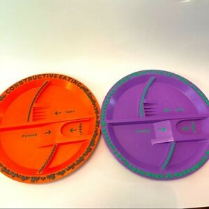 Constructive Eating Plates Set of 2 Purple Orange Kids Unique Tray Divided