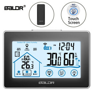 BALDR Wireless Indoor/Outdoor Thermometer/Hygrometer with Touch Screen Setup (WS