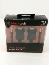 Blackweb 10ft Foot VGA Cable with 3.5mm Audio Computer,Monitor, Projector BLACK