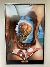 VINTAGE - Topps MARS ATTACKS Oversized photo/card -Eric Wilkerson Autograph 2014