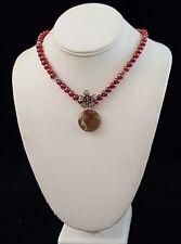 Necklace Pearls 925 Sterling Silver Flower & Flower Jasper Artisan Handmade USA