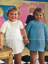 """Knitting Pattern Children Baby Girl Dress 3 and 4 Ply Wool 20-23"""" Vintage"""
