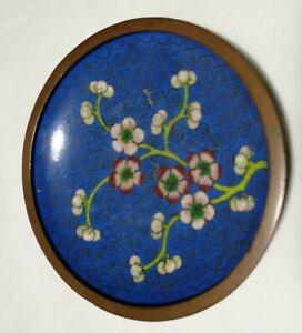 China Late 19TH Century  export Enamel Flowers Cloisonne Plate Dia9.5cm