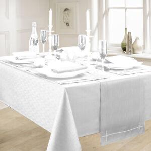 LINEN LOOK WHITE TABLE CLOTHS ELEGANT SLUBBED PARTY CHRISTMAS NATURAL BLANCO