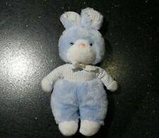 Doudou peluche lapin bleu clair blanc rayé Tartine et chocolat vintage TBE