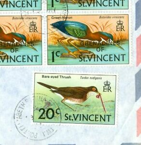 St Vincent 20c Bird + 1c Overprint Block of 10 on cover to USA #2805