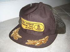 Vintage Artic ALASKA Coiled Tubing Oil Gas Drilling Brown Trucker Hat Cap USED