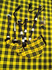 TE Scottish Great Highland Bagpipe Rosewood Black Ivory Mount Chanter Tutor Book