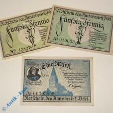 3 x Notgeld Böel , german emergency money , M/G 132.1 a , 3 Scheine  kfr/unc