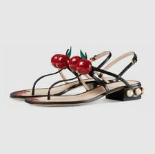 Chic Womens Cherry Flip Flops Pearl Strappy Sandals Block Low Heels Shoes KK01