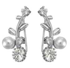 Pearl flower ear climber earrings