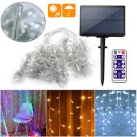 Solar LED Fairy Icicle String Curtain Lights Indoor Outdoor Xmas Decor Garden