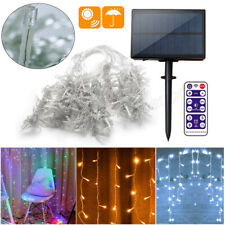 Solar LED Fairy Icicle String Curtain Lights Indoor Outdoor Xmas Decor Garden