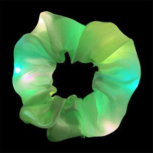 LED Shiny Velvet Hair Scrunchie Ponytail Holder Elastic Hair Ties Band Accessory