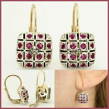 14k Real Yellow GOLD and Natural Genuine RUBY Dangle Leverback Italian Earrings