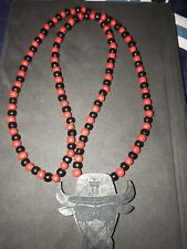 Authentic Chicago Red Bull's GOOD WOOD(NYC) Necklace Style 36 Inch Beaded Chain