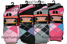 12 Pairs Women`s Ladies Argyle Design Thermal Warm Winter Casual Socks UK 4-7