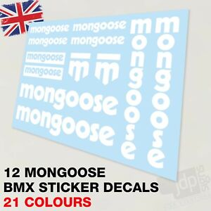 SET OF 12 MONGOOSE BMX BIKE DECALS STICKERS - 21 COLOURS