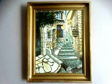 Lovely Oil Painting French Village in a nice old frame