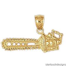 New 14k Yellow Gold Chainsaw Pendant