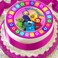 TELETUBBIES PINK COLOURED STAR BORDER PRECUT EDIBLE 7.5 INCH CAKE TOPPER 4U3
