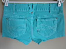 Aeropostale Stretch Bright Aqua Teal Turquoise Cut Off Denim Shorts 7/8