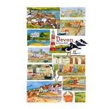 Emma Ball Devon Coastal Town Scenes 100% Cotton Tea Towel - Full Range In Stock
