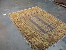 Antique Turkish Anatolian Prayer Mihrab Rug 4'4x 5'1 Hand Knotted Wool
