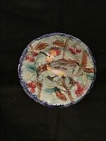 ANTIQUE MAJOLICA BELGIUM WASMUEL BIRD WITH AND BERRIES POTTERY PLATE