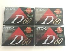 NEW Sealed LOT Of 4 TDK D60 High Output CASSETTE TAPES