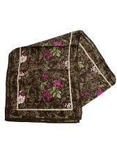 Brown & Pink Floral Scarf Long Rectangle Wrap Shawl Fashion Accessory Gift