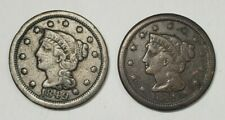Lot of Two Large Cents - 1C - Braided Hair - 1849 2x - Us Coins