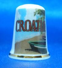 Birchcroft China Thimble - Travel Poster Series - Croatia - Free Dome Gift Box