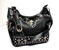 American West Womens Black Hand Tooled Leather Zip Top Hobo Handbag Purse - NEW