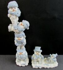 """Snow Buddies Figurines """"A joyous Ride"""" and """"Buddies Stacker w/o pipe"""". 2 pcs."""