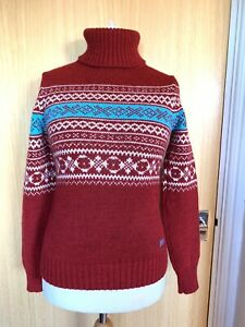Superdry Ladies Jumper Top 8 10 XS Nordic Winter Polo Neck Fair Isle Christmas