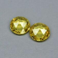 Pair 2pcs/0.61ct t.w 4.5mm Round Rose-Cut Natural Unheated Yellow Sapphire