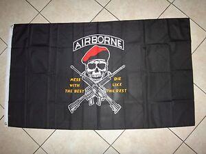 """États-Unis Armée Airborne Grande Taille Chiffon Imprimé Drapeau 36 """" x 60 """""""