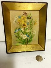 antique miniature Oil painting Beautiful Floral Still life Period Frame Sweet-C