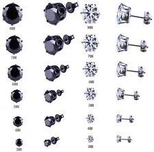 Men Women Stainless Steel Black Round Cubic Zirconia Ear Studs Earrings 3mm-8mm
