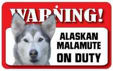 Alaskan Malamute Sign - Laminated Card -  Beware Of Dog 20cm x 12cm