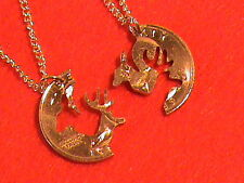 Hand Cut US Quarter as a Buck and Doe for the Sportsman, 24 kt gold plated