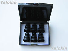 6 Large (L) Black Triple Flange Replacement Eartips buds for Monster Earphones