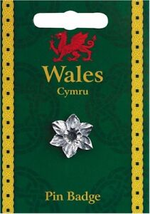 Welsh SilvervPewter Daffodil Lapel Pin Badge